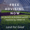Free Advising Assistance Now written across image of seedlings in a green house