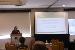 Addressing the Succession Assistance Task Force, Annette Higby, task force leader, speaks at the LAP2 launch.